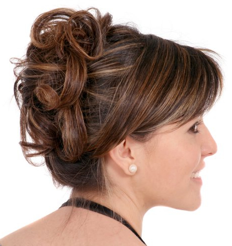 Curly Updo With Sideswept Bangs – Prom, Wedding, Formal In Formal Curly Updos With Bangs For Wedding (View 3 of 25)