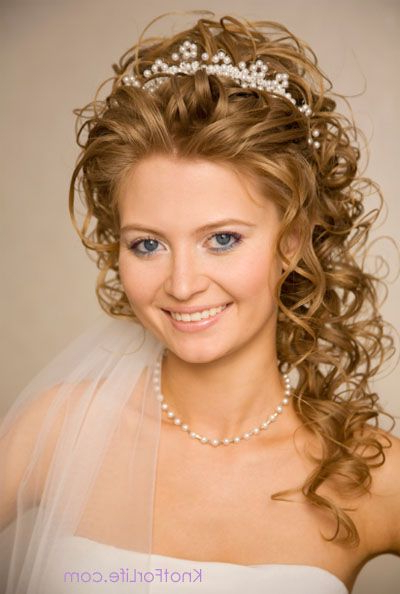Curly Wedding Hairstyles With Tiara | And Pearls – Curly Bridal For Curly Bridal Bun Hairstyles With Veil (View 3 of 25)