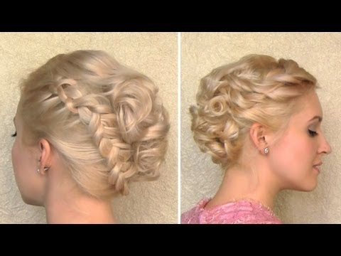 Curly Wedding Updo Prom Hairstyle For Medium Long And Short Hair Within Curly Bun Bridal Updos For Shorter Hair (View 15 of 25)