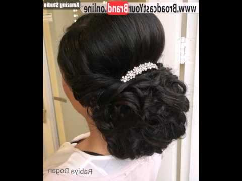 Curly Wedding Updo With A Bouffant For Thick Hair – Youtube Throughout Curly Wedding Updos With A Bouffant (View 7 of 25)