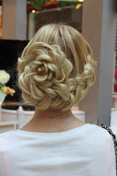 Curving Big French Braid Spiraling Into Flower Shape | Wedding With Spiraled Wedding Updos (View 4 of 25)