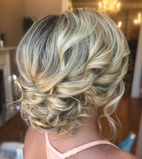 Delicate Curly Updo For Medium Hair #weddinghairstyles | Amanda's With Regard To Delicate Curly Updo Hairstyles For Wedding (View 3 of 25)