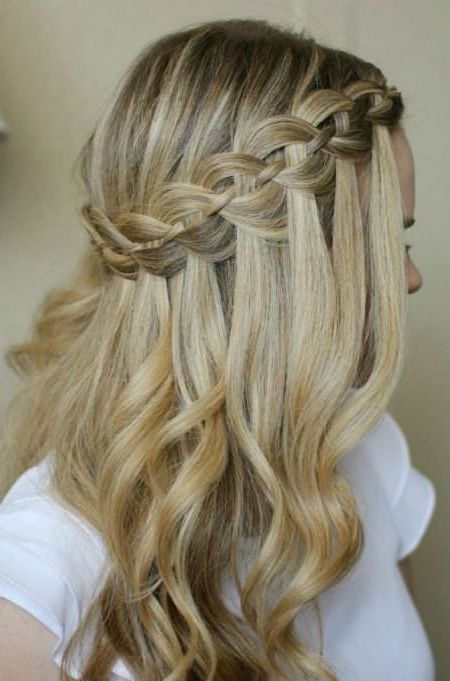 Diagonal Waterfall Braid Half Up Half Down Wedding Hairstyles | Hair For Diagonal Waterfall Braid In Half Up Bridal Hairstyles (Gallery 1 of 25)