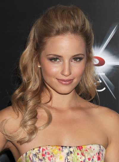 Dianna Agron | Teasing Comb, Half Updo And Long Curly Inside Pulled Back Half Updo Bridal Hairstyles With Comb (Gallery 9 of 25)