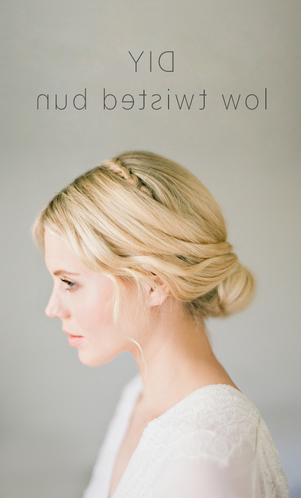 Diy Low Twisted Bun | Diy Weddings | Oncewed Intended For Twisted Low Bun Hairstyles For Wedding (Gallery 10 of 25)