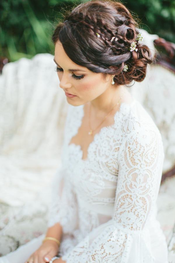 Draped Twists Tiny Braids A Side Bun Made Of A Pile Of Perfect Curls in Pile Of Curls Hairstyles For Wedding