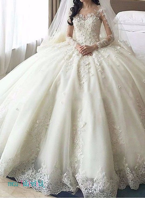 Dreamy Cathedral Train Princess Ball Gown Wedding Dress | Ball Gown In Sleek And Big Princess Ball Gown Updos For Brides (Gallery 10 of 25)