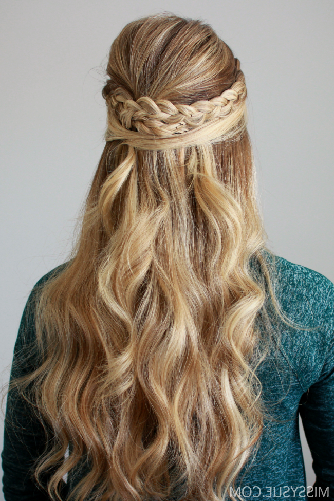 Dutch Braid Embellished Half Updo For Bouffant Half Updo Wedding Hairstyles For Long Hair (Gallery 6 of 25)