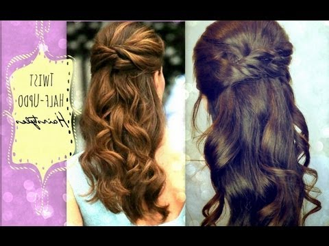 ?Cute Hairstyles Hair Tutorial With Twist Crossed Curly Half Up Within Loose Curly Half Updo Wedding Hairstyles With Bouffant (View 18 of 25)