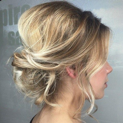 Easy And Cute Hair Updo Ideas Updo With Bangs: Blonde Updo Updo For Pertaining To Wavy And Wispy Blonde Updo Wedding Hairstyles (View 10 of 25)