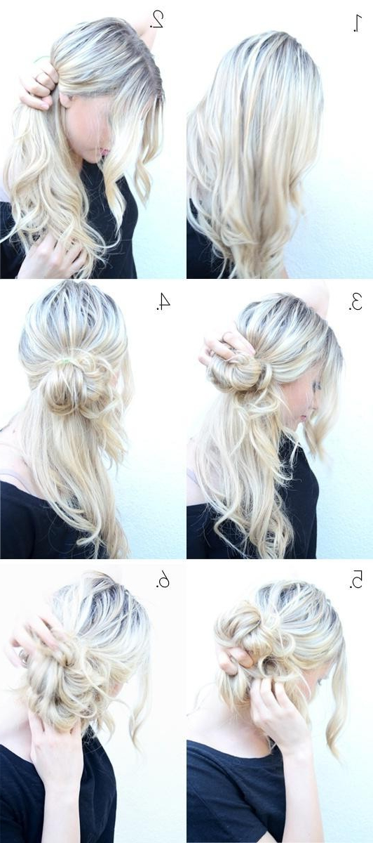 Easy Messy Bun Updos Tutorial: Cute Hairstyles – Popular Haircuts With Regard To Low Twisted Bun Wedding Hairstyles For Long Hair (View 20 of 25)