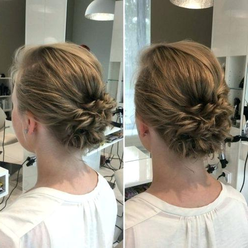 Easy Updos For Short Hair Easy Low Messy Bun Hairstyle – Kcnym Throughout Messy Bun Wedding Hairstyles For Shorter Hair (View 9 of 25)