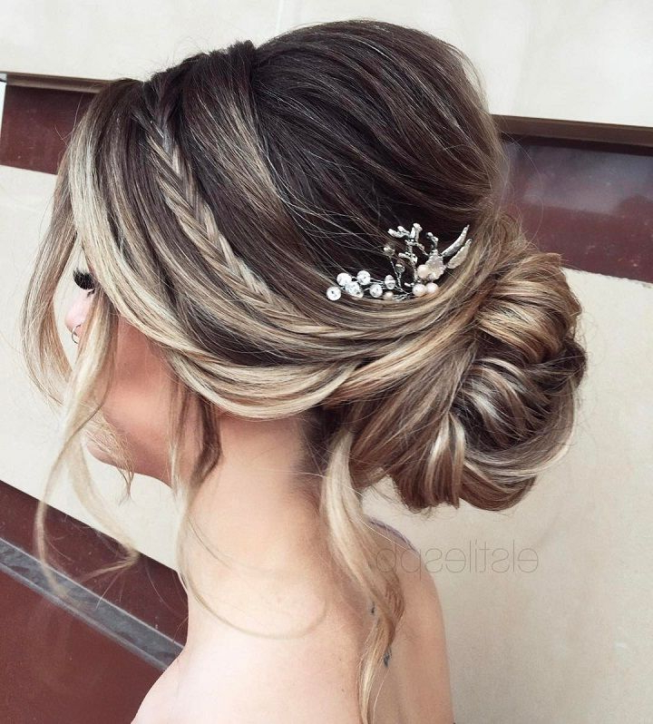 Elegant Simplicity Updo Wedding Hairstyle To Inspire Your Big Day with French Twist Wedding Updos With Babys Breath