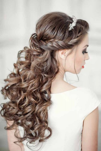 Elegant Wedding Hairstyles: Half Up Half Down | Tulle & Chantilly Regarding Half Up Curls Hairstyles For Wedding (View 6 of 25)