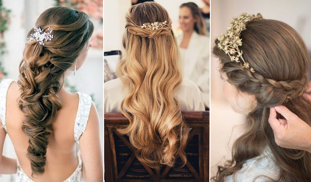 Elegant Wedding Hairstyles: Half Up Half Down | Tulle & Chantilly Within Wedding Semi Updo Bridal Hairstyles With Braid (View 11 of 25)