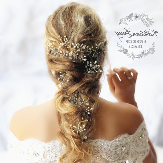 Extra Long Bridal Hair Vine – Extra Length Wedding Hair Vine – Wire Inside Teased Wedding Hairstyles With Embellishment (View 11 of 25)