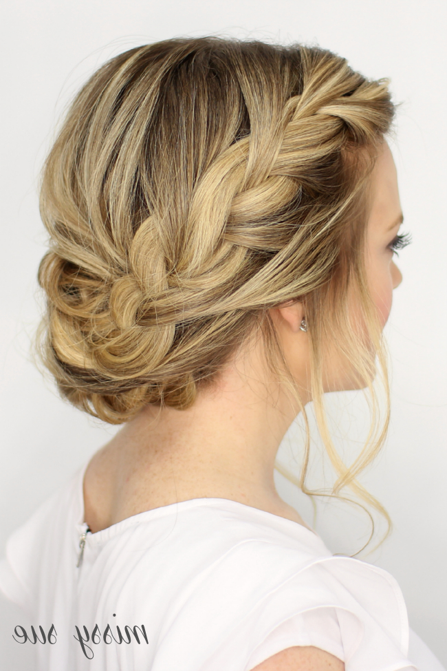 Fancy French Braid Updo in Diagonal Waterfall Braid In Half Up Bridal Hairstyles
