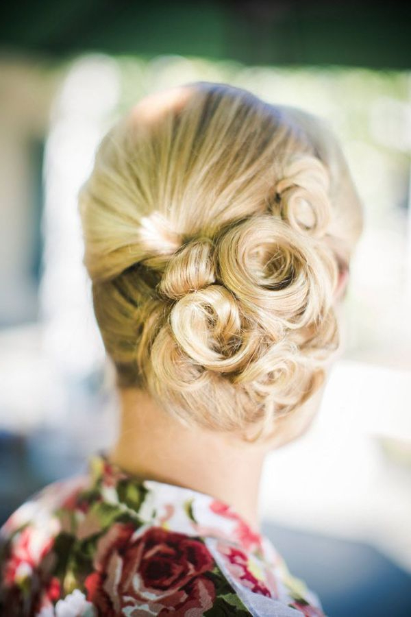 Five Stunning Bridal Updos For The Hopeless Romantic – The Pink Bride With Regard To Large Curl Updos For Brides (View 20 of 25)