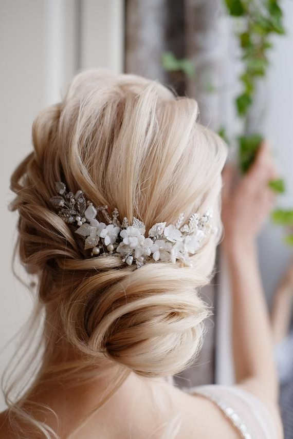 Flower Hair Comb Bridal Hair Comb Wedding Hair Comb Hair Accessories in Accessorized Undone Waves Bridal Hairstyles