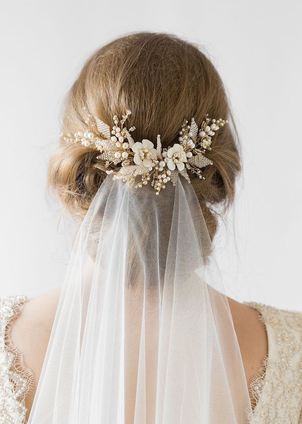 Flying High   Wedding Veils Above Or Below The Bun Pertaining To Embellished Twisted Bun For Brides (View 18 of 25)