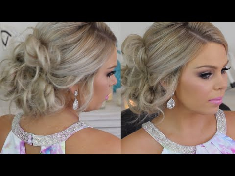 Formal Hair Messy Side Bun Tutorial – Youtube Within Curled Side Updo Hairstyles With Hair Jewelry (View 17 of 25)