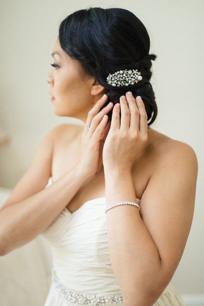 Formal New England Ballroom Wedding | Weddings To Plan in Sleek Bridal Hairstyles With Floral Barrette