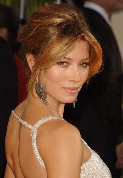 Formal Updo Hairstyles From Jessica Biel | Hair | Hair Styles, Hair Within Darling Bridal Hairstyles With Circular Twists (View 13 of 25)