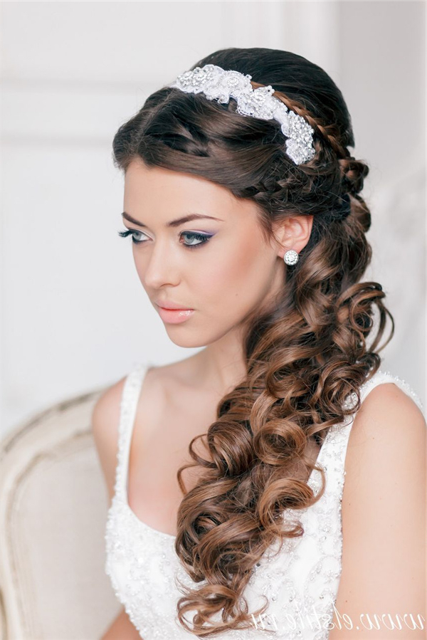 French Braided Half Up Wavy Wedding Hairstyle With Headpiece | Deer Pertaining To French Braided Halfdo Bridal Hairstyles (View 17 of 25)
