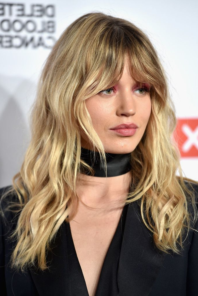 Georgia May Jagger Long Wavy Cut With Bangs In 2019 | Hair With Curly Ash Blonde Updo Hairstyles With Bouffant And Bangs (Gallery 9 of 25)