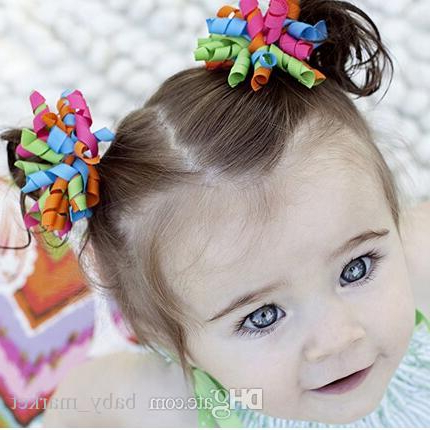 Girls 3 Inch Korker Bow Grosgrain Curled Ribbon Pony Holder Pony In Ponytail Bridal Hairstyles With Headband And Bow (Gallery 9 of 25)