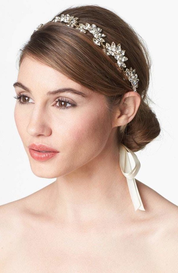 Glam Headbands For Brides And Bridesmaids | Mywedding With High Updos With Jeweled Headband For Brides (Gallery 11 of 25)