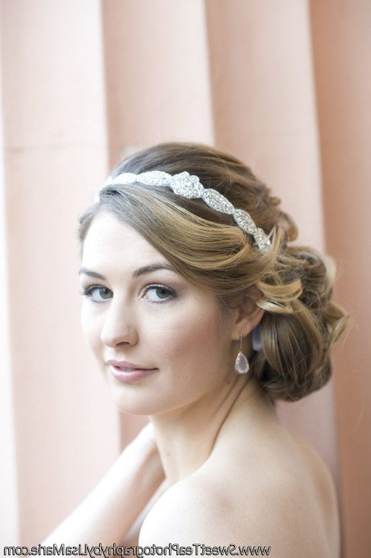 Glamorous Wedding Day Updo Idea – Low, Side Chignon With Sideswept Intended For High Updos With Jeweled Headband For Brides (Gallery 1 of 25)