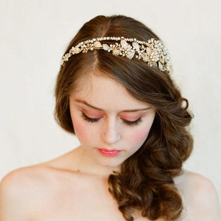 Gorgeous Diamond Studded Crystal Bead Flower Headband High Quality for High Updos With Jeweled Headband For Brides