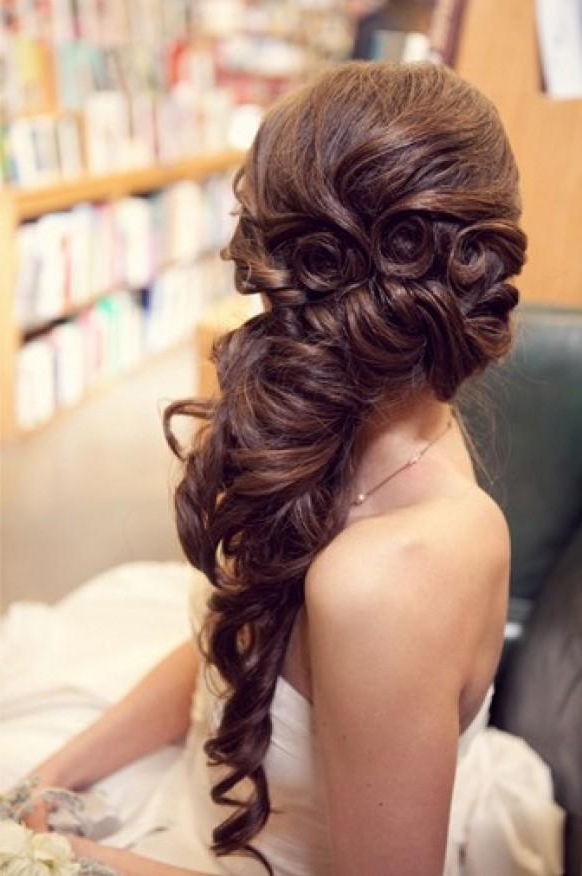 Gorgeous Long Wedding Hairstyle ? Wavy Long And Side Swept Within Curly Ponytail Wedding Hairstyles For Long Hair (Gallery 24 of 25)
