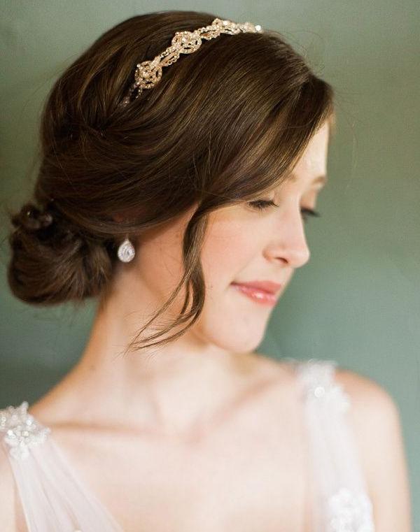 Gorgeous Low Bun Wedding Hairstyles With Headband | Hair | Pinterest in Undone Low Bun Bridal Hairstyles With Floral Headband
