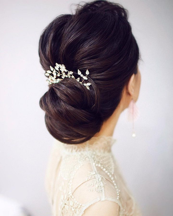 Gorgeous Wedding Hairstyles For Every Length | Hairstyles Intended For Sparkly Chignon Bridal Updos (Gallery 2 of 25)