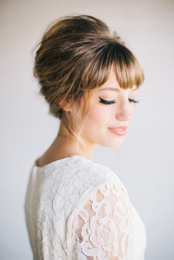 Got Bangs? 5 Fringe Friendly Wedding Hairstyles | My Dream Wedding Intended For Bridal Mid Bun Hairstyles With A Bouffant (Gallery 1 of 25)
