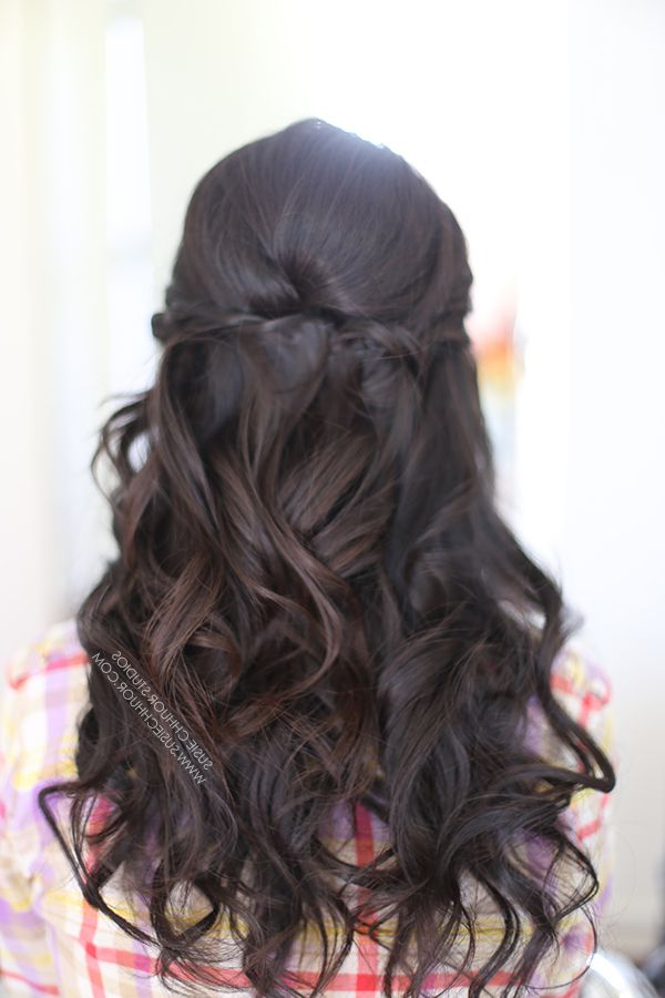 Hair Loose Waves Curls Half Up Half Down Wedding Hair Prom Hair Inside Twists And Curls In Bridal Half Up Bridal Hairstyles (View 3 of 25)