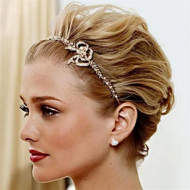 Hair Pulled Backa Golden Headband • The Sugar Styles Magazine Within Pulled Back Bridal Hairstyles For Short Hair (View 17 of 25)