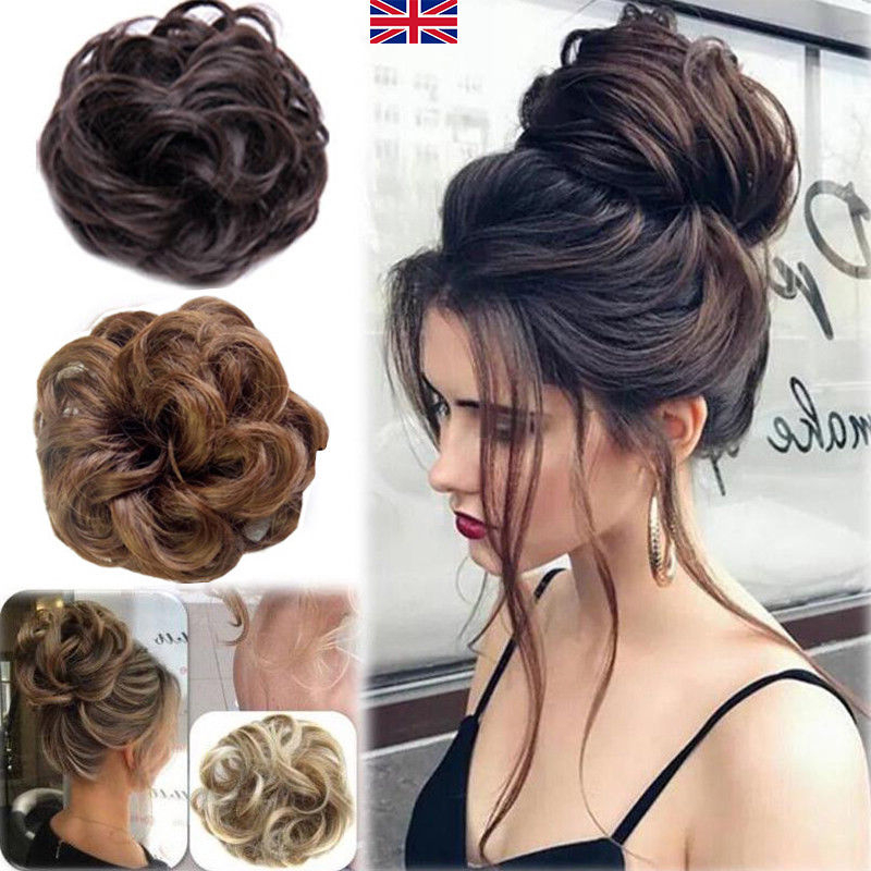 Hair Scrunchie Large Wavy Curly For Messy Bun Or Pony Updo Wedding Inside Large Bun Wedding Hairstyles With Messy Curls (View 25 of 25)