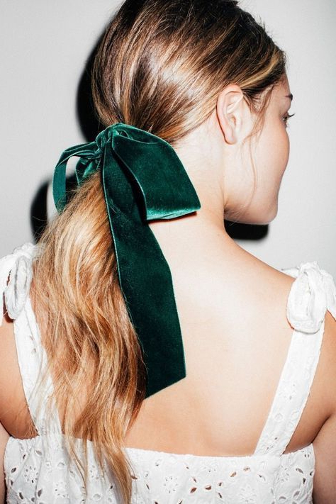 Hair Style Inspiration : Pretty Hairstyle With Velvet Bows | Style intended for Ponytail Bridal Hairstyles With Headband And Bow