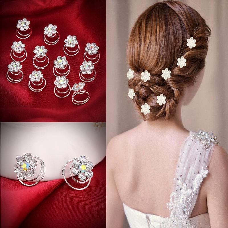 Hairpins Twist Coils Hair Spin Pins Bridal Wedding Prom Crystal Intended For Embellished Twisted Bun For Brides (View 19 of 25)