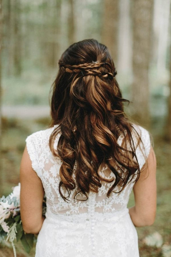 Half Up Bridal Hairstyle With Loose Curls And Braided Crown Within Loose Curls Hairstyles For Wedding (View 22 of 25)