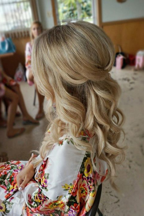 Half Up Half Down Curl Hairstyles – Partial Updo Wedding Hairstyles In Wavy And Wispy Blonde Updo Wedding Hairstyles (View 19 of 25)