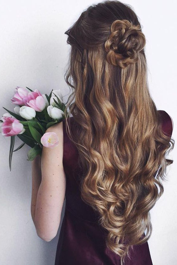 Half Up Half Down Hairstyles Collection Pertaining To Dimensional Waves In Half Up Wedding Hairstyles (View 16 of 25)