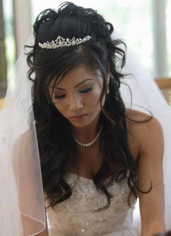 Half Up Half Down Wedding Bridal Hairstyles – My Bride Hairs Pertaining To Long Curly Bridal Hairstyles With A Tiara (View 11 of 25)