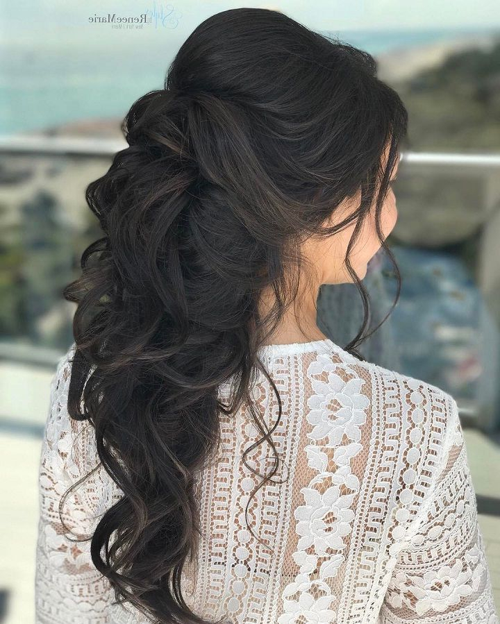 Half Up Half Down Wedding Hairstyle Get Inspiredfabulous Wedding Throughout Fabulous Cascade Of Loose Curls Bridal Hairstyles (View 15 of 25)