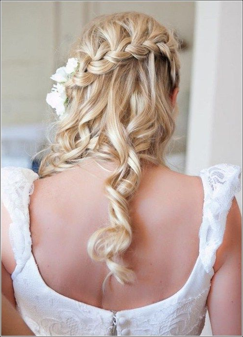 Half Up Half Down Wedding Hairstyles – 40 Stylish Ideas For Brides With Diagonal Waterfall Braid In Half Up Bridal Hairstyles (View 3 of 25)