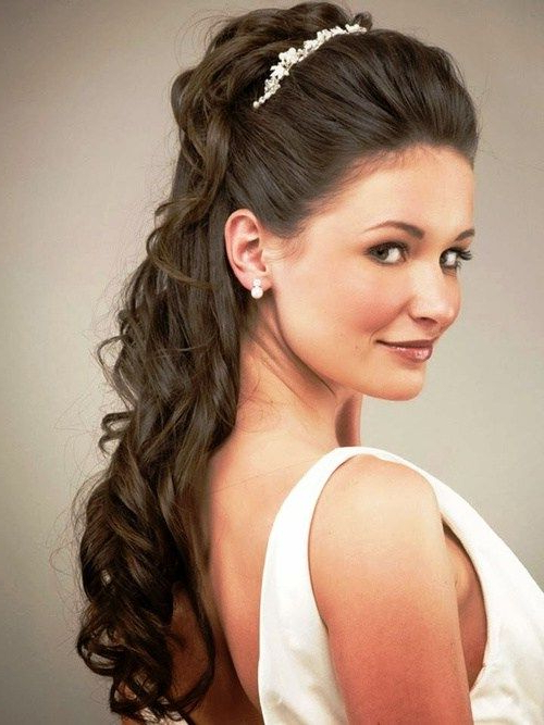 Half Up Half Down Wedding Hairstyles – 40 Stylish Ideas For Brides With Regard To Fabulous Cascade Of Loose Curls Bridal Hairstyles (View 2 of 25)