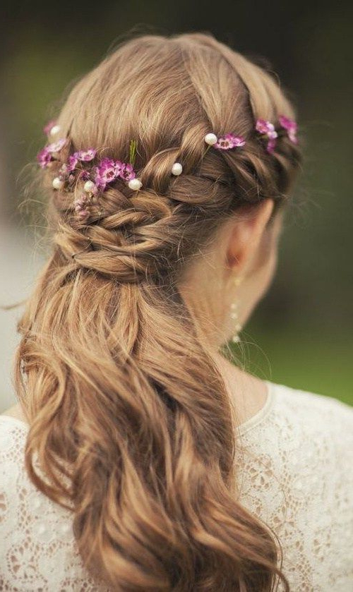 Half Up Half Down Wedding Hairstyles – 40 Stylish Ideas For Brides Within Natural Looking Braided Hairstyles For Brides (View 2 of 25)
